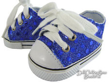"""nov17Blue Sequin Sneakers Shoes for 18"""" American Girl Doll Clothes Sew Beautiful"""
