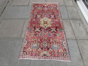 Vintage Traditional Hand Made Oriental Red Pink Wool Short Runner 173x93cm