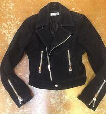 BALENCIAGA Black Suede Leather Moto Motorcycle Jacket, Size 36 Size 4