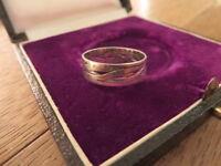 Hübscher 925 Silber Ring Durchgehendes Muster Bandring Durchbruch Unisex Design