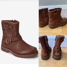 UGG® Kids Harwell Biker Buckle Boots, Tan, Size 13 EU 31, RRP £95
