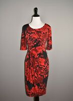 DRESSBARN NEW $79 Red Floral Ruched Sheath Dress Faux Wrap Size 4