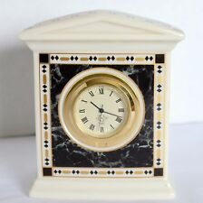 Lenox China Forum Marble Clock Quartz Small Ivory Gold Bedroom Shelf Desk Clock