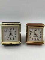 Vintage Westclox & Bulova Wind Up Windup Clock Alarm Travel clock lot of 2