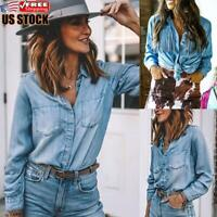 Womens Casual Tassels Denim Blouse Ladies Long Sleeve Buttons Jeans Tops T Shirt