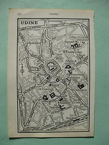 stampa antica old map MAPPA FRIULI  UDINE  1^ meta 900 da guida inglese