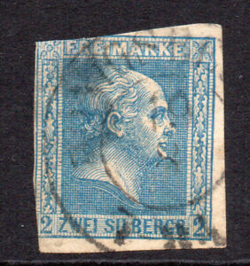 Prussia (Germany) 2sgr Pale Blue Stamp c1857 Used SG 18 (thins) (7582)