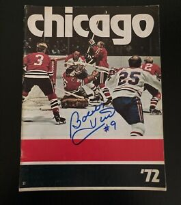 Vintage Chicago Blackhawks NHL Program with Bobby Hull Autograph on Cover