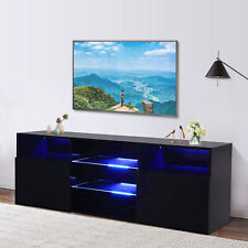 Mecor Modern Black TV Stand with LED Lights Black High Gloss TV Stand for 65 Inch TV LED TV Stand with Storage and 2 Drawers Living Room Furniture