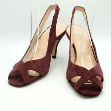 Hobbs Ladies Shoes Sandals Size 3.5 36.5 Plum Suede Slingbacks Stiletto Tried On