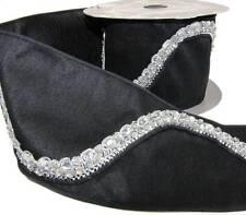"Rare Rich HTF Elegant Luxury Diamond Rhinestone Black Wide Wired Trim Ribbon 4""W"