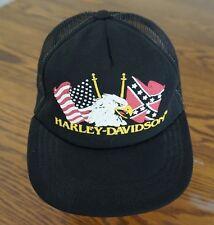 Vintage Harley Davidson Eagle Flag Trucker Hat Snapback USA