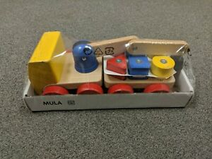 Ikea Mula Magnetic Wooden Crane with Multi-Color Blocks Pre-School Toy