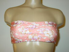 Lolli Swim peach vintage floral style bandeau tube swimsuit top Made USA-S