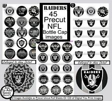 Raiders NFL Team Team Logos-Silver & Black 45 Precut Bottle Cap Images