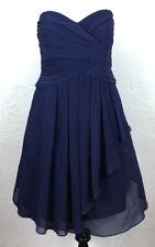 #S34 David's Bridal Sz 12 Dark Blue Chiffon Cascade Strapless Dress F14847