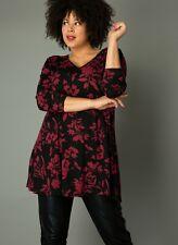 XXL Tunika Longshirt Ankaria A-Form von Yesta 46 52 Viscose schwarz weinrot