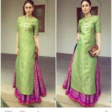 Indian Designer Party Wear Green Pink Jacquard UnStitch Salwar Suit Dress Materi