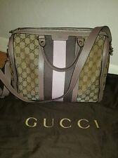 100% Auth Gucci GG Canvas Vintage Web Joy Boston Bag w/Purple Strap mint conditi