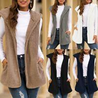 Women Hooded Faux Fur Cardigan Fluffly Vintage Shaggy Vest Jacket Long Coat