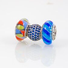 Pandora Lampwork Beads and Sterling Silver Charm, Lot of Three, Blue