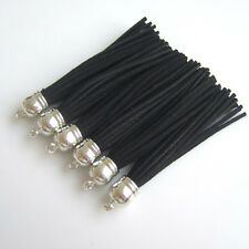 10Pcs BLACK Faux Leather Tassel Pendant with Silver Plated Cap DIY Craft Tassels