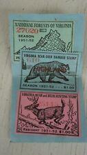 Vtg Virginia Va Hunting License Bear Deer 3 stamps 1951-52 Pittsylvania County
