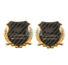 2pcs Gold Carbon Fiber Side Metal Emblem Chrome Badge Side Trunk Sticker For ATS