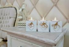 3 Blanco Madera Rústico Shabby Chic Corazón Amor Portavelas de velas pequeñas
