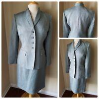 Kasper Women's Skirt Suit Blue Tweed Blazer Jacket Pencil Skirt Office Petite 8P