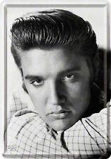 Retro Tin Metal Postcard 'ELVIS The King' Mini Sign 10 x 14cm B/W Portrait Print