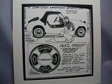 1950 Crosley Hotshot   Auto Pen Ink Hand Drawn  Poster Automotive Museum