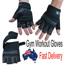 Leather Workout Gym Weight lifting Sports Half Finger Fingerless Black Gloves
