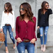 Womens V-neck Tops Loose Long Sleeve T-Shirt Casual Blouse Chiffon Summer Shirts