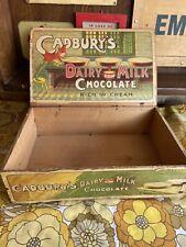 More details for antique vintage wooden original cadburys dairy milk box advertising not enamel