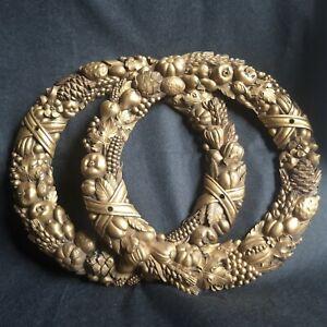 Zierelemente Bronze o.Messing 2 St.rund groß ca.25.cm antik1890 o.ä.schönePatina