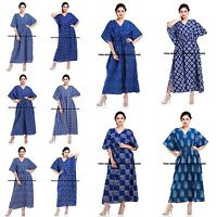 Anokhi Organic Indigo Art Deco Block print Indian cotton Tunic Long Kaftan Gown