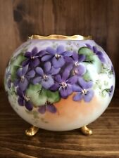 Vienna Austria~ Porcelain Hand Painted Footed Bowl~purple Violets Signed MERRMAN