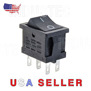 IndusTec Rocker Switch 6 - pin DPDT 2 Position 10A Maintained 12V 24V quick plug