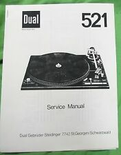 DUAL CS 521 SERVICE MANUAL THIS IS A PHOTO COPY FOR DUAL MODEL CS 521 TURNTABLE