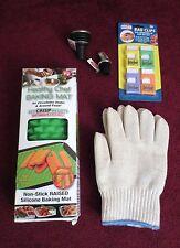 Healthy Chef Baking Mat-New-Non-Stick -3 Bonus-Items-Heat Resistant Glove & More
