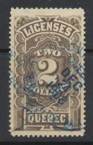 1889 Quebec License Revenue Stamp ~ $2 used ~ Centered ~ PM Xmas Eve 1908