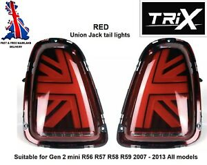 TRiX Mini Cooper S One JCW RED LED Union Jack Rear tail Lights R56 R57 2007-2015
