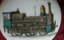 ANTICA MINIATURA LOCOMOTIVA TRENO A VAPORE SU PORCELLANA train oil painting 19th