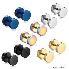 Punk Stainless Steel Earrings Mens Womens Stud Ear Piercing Plugs Tunnel Pair UK
