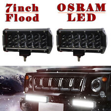2pcs Dual Row Osram 7inch Flood LED Work Light Bar Offroad Driving Fog Truck CAO