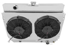 """3 Row Champion Radiator for1963-1968 Chevy Biscayne With Upgraged 12"""" Spal Fans"""