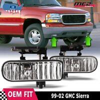 For GMC Sierra 99-02 Factory Bumper Replacement Fit Fog Lights DOT Clear Lens