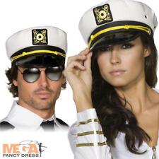 Captains Cap Navy Sailor Seaman White Adult Unisex Smiffys Fancy Dress Hat