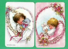 2 VINTAGE PLAYING SWAP CARDS 1970's BABY GIRL & BOY WITH TEDDY & RABBIT